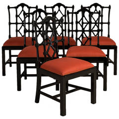 Set of Six Gloss Ebonised Framed Asian Modern Dining Chairs, 1960s