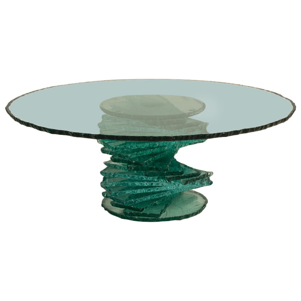 Late 20th Century Pedestal Base Glass Coffee Table At 1stdibs