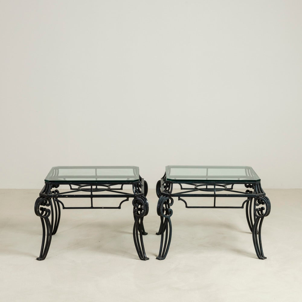 Pair of french patinated wrought iron side tables 1950s for Wrought iron side table