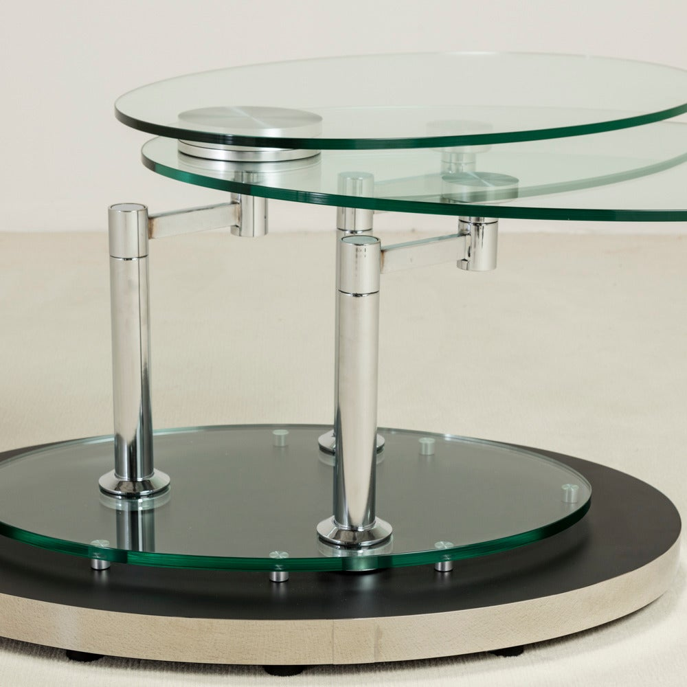 Emerson Rectangular Mod Swivel Coffee Table W Glass: Nickel And Glass Swivel Coffee Table By DIA, 1980s At 1stdibs