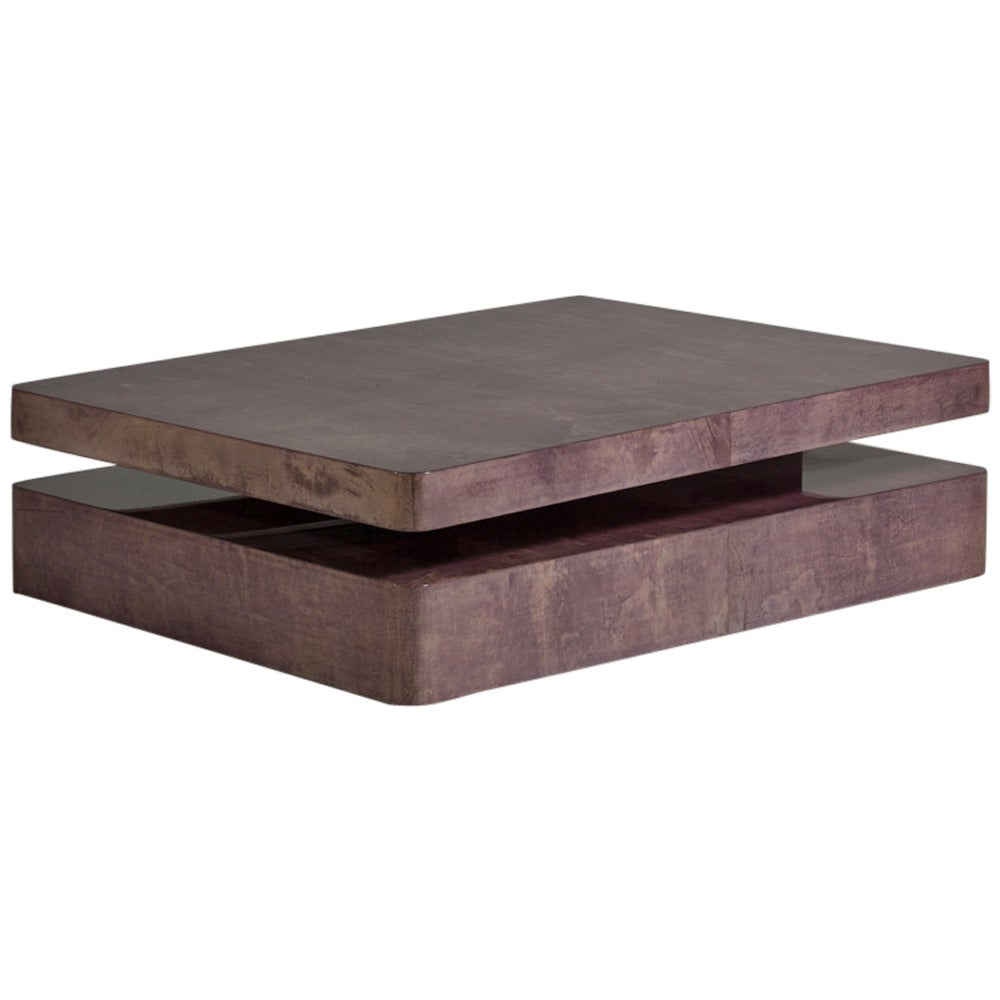 Extendable Mauve Lacquered Goatskin Coffee Table 1960s At 1stdibs
