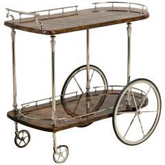 Aldo Tura Designed Lacquered Goatskin Bar Cart, Italy, 1950s