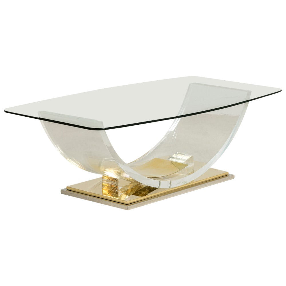Sculptural polished brass and lucite coffee table 1970s for Lucite and brass coffee table