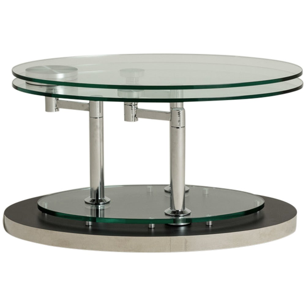 Nickel And Glass Swivel Coffee Table By Dia 1980s At 1stdibs