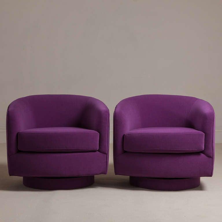 A Pair Of Milo Baughman Designed Swivel Rocking Tub Chairs