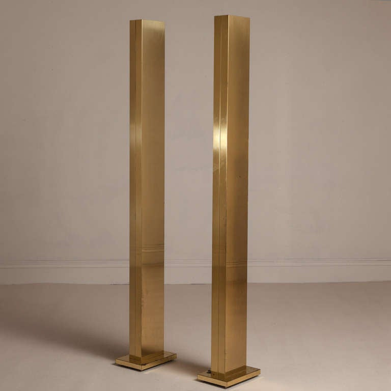Pair of polished brass uplighters for sale at 1stdibs for Floor uplighters