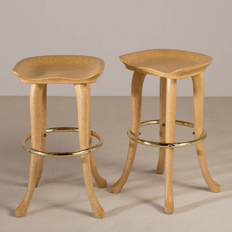 Simulated Vellum Elephant Bar And Pair Of Stools By Marge