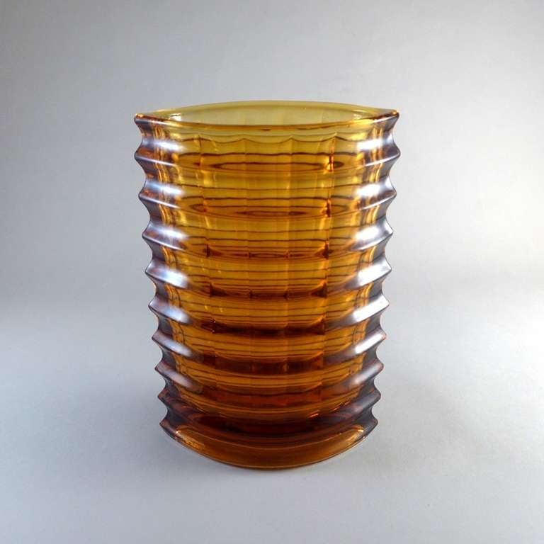A Ribbed Elliptical Amber Pressed Glass Vase For Sale At