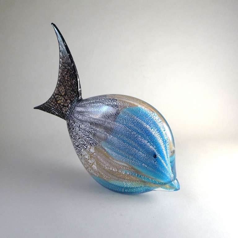Rare Murano glass fish sculpture with a fused blue, black and gold body Finished with an aventurine Detail, 1960s.