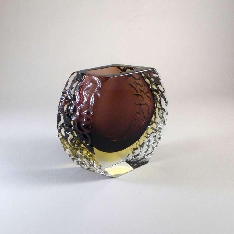 Mandruzzato Murano Sommerso Glass Vase For Sale