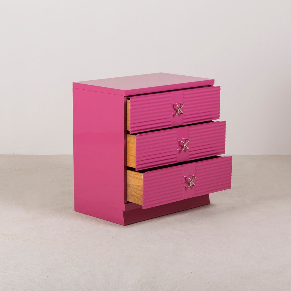 Three-Drawer Orchid Lacquered Commode, 1960s 4