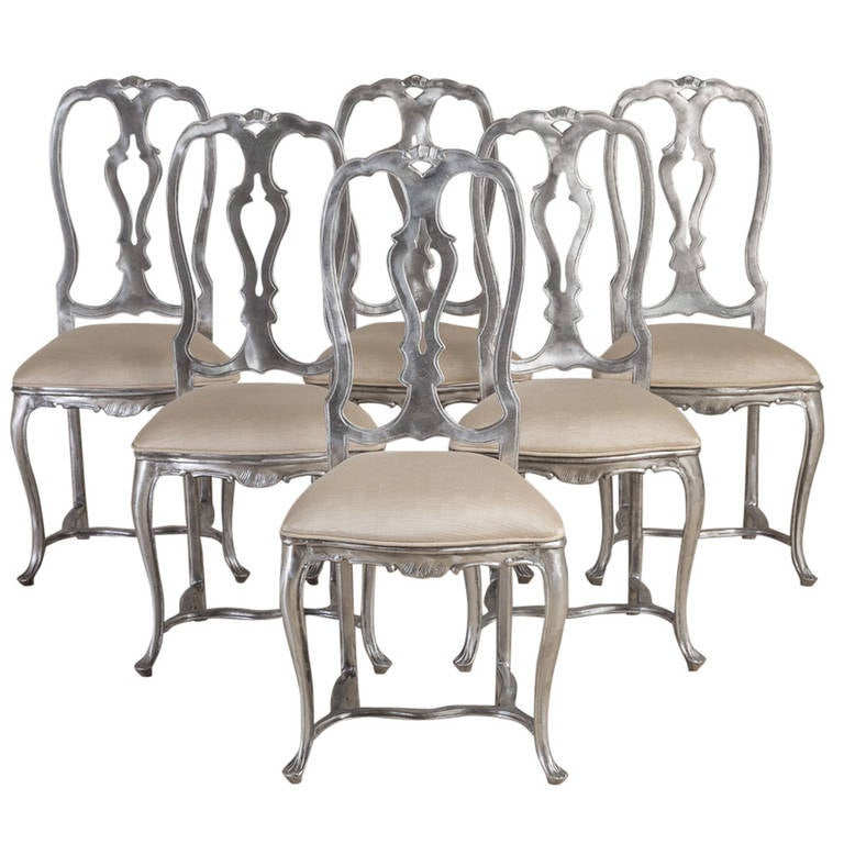Set of Six Rococo Style Polished Aluminium Chairs, 1960s