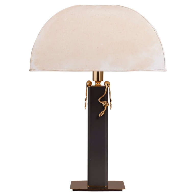Grey leather wrapped and brass plated table lamp 1980s for sale at