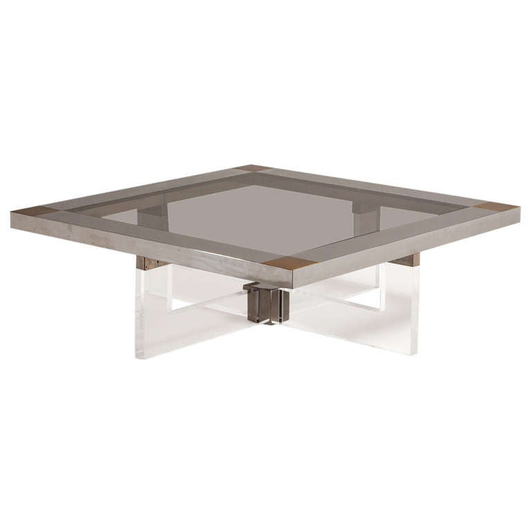 A Brass Chrome And Lucite Coffee Table With Glass Top 1970s For Sale At 1stdibs