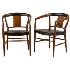 Pair of Danish Style Armchairs with Black Padding