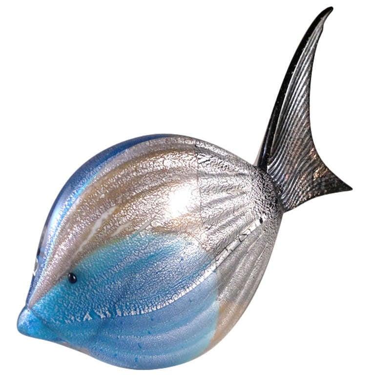 Rare Murano Glass Fish Sculpture For Sale