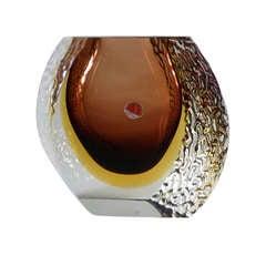Large Mandruzzato Designed Murano Sommerso Glass Vase