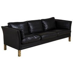 Danish Mogens Hansen Black Leather Upholstered Sofa, 1950s