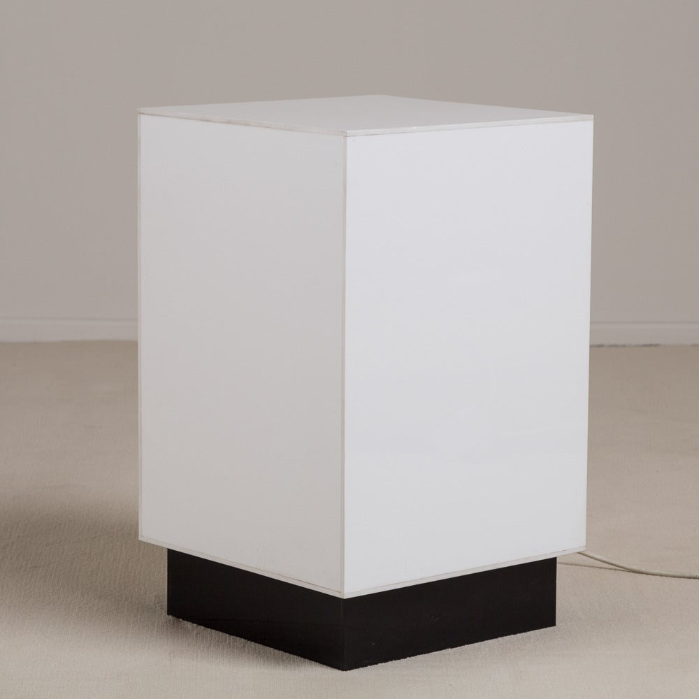 Acrylic Box Table : Small single white acrylic light box side table s for