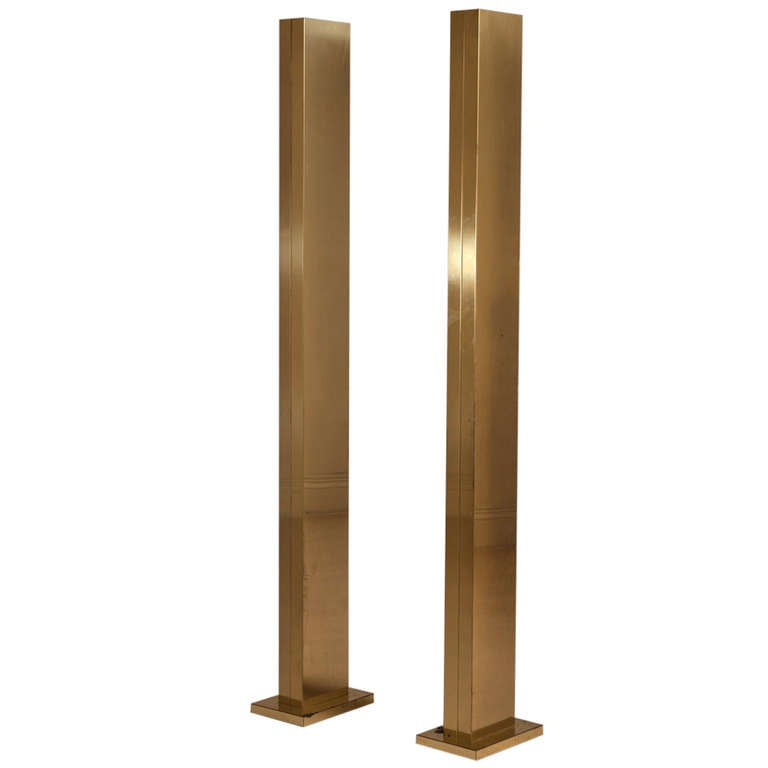 Pair of polished brass uplighters at 1stdibs for Floor uplighters