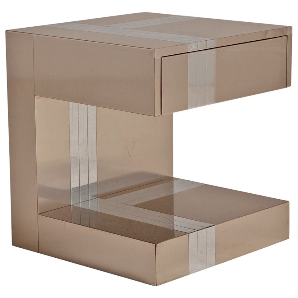 Paul Evans Style Chrome C Shaped Bedside Table 1980s For At 1stdibs