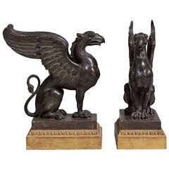 A Pair of Carved Wood Griffins c. 1800