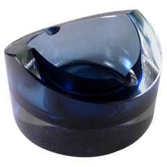 Circular Murano Glass Ashtray Designed by Seguso