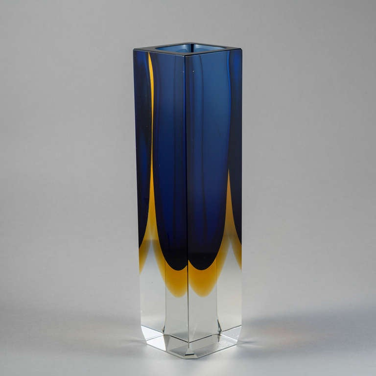 A Large Square Murano Sommerso Glass Vase With A Blue And Gold