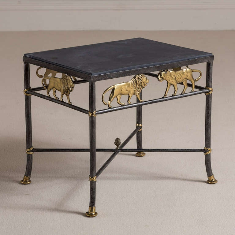 A Mastercraft Designed Wrought Iron And Brass Side Table 1970s At 1stdibs