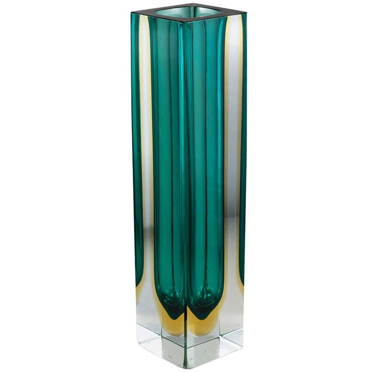 A Large Rare Rectangular Murano Sommerso Glass Vase For Sale At 1stdibs