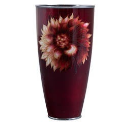 Japanese Cloisonné Gin-Bari Red Beaker Vase, circa 1950