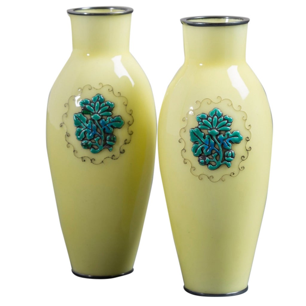 Pair of Japanese Cloisonné Yellow Enamel Vases by Ando, circa 1920