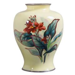 Japanese Cloisonné Yellow Enamel Vase by Ando, circa 1950 KM029