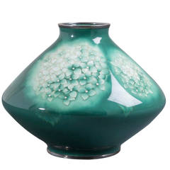 Japanese Cloisonné Green Enamel Vase by Ando