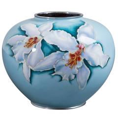 Large Japanese Cloisonné Pale Blue Enamel Vase, circa 1960