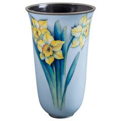 Light Blue Japanese Cloisonné Enamel Vase