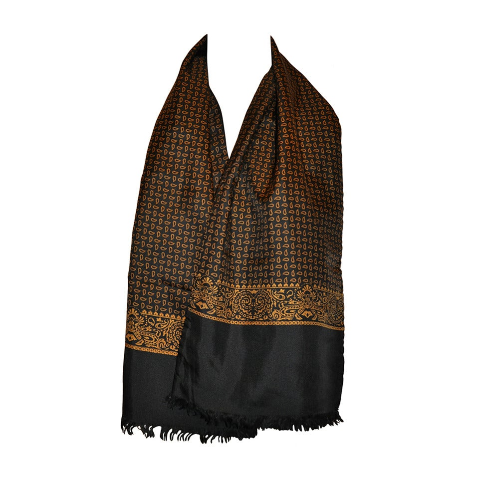 saks fifth avenue palsey print silk with black