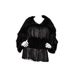 DOLCE & GABANNA Sheared Fur & Leather Fringe Cowl Neck Jacket sz 42