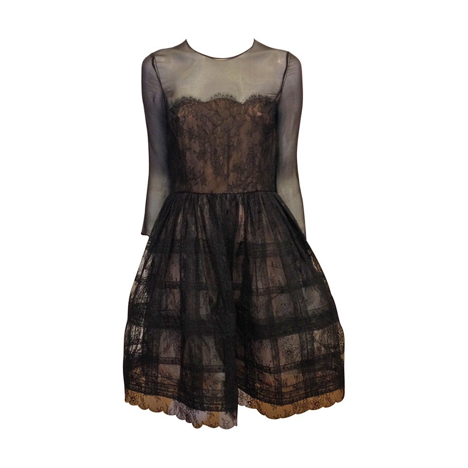 Oscar de la Renta Black Sheer Lace Dress 1