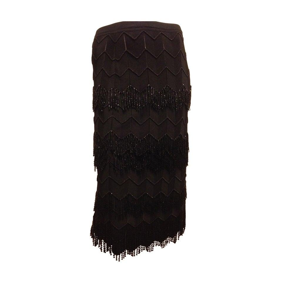Escada Black Skirt with Beaded Fringe
