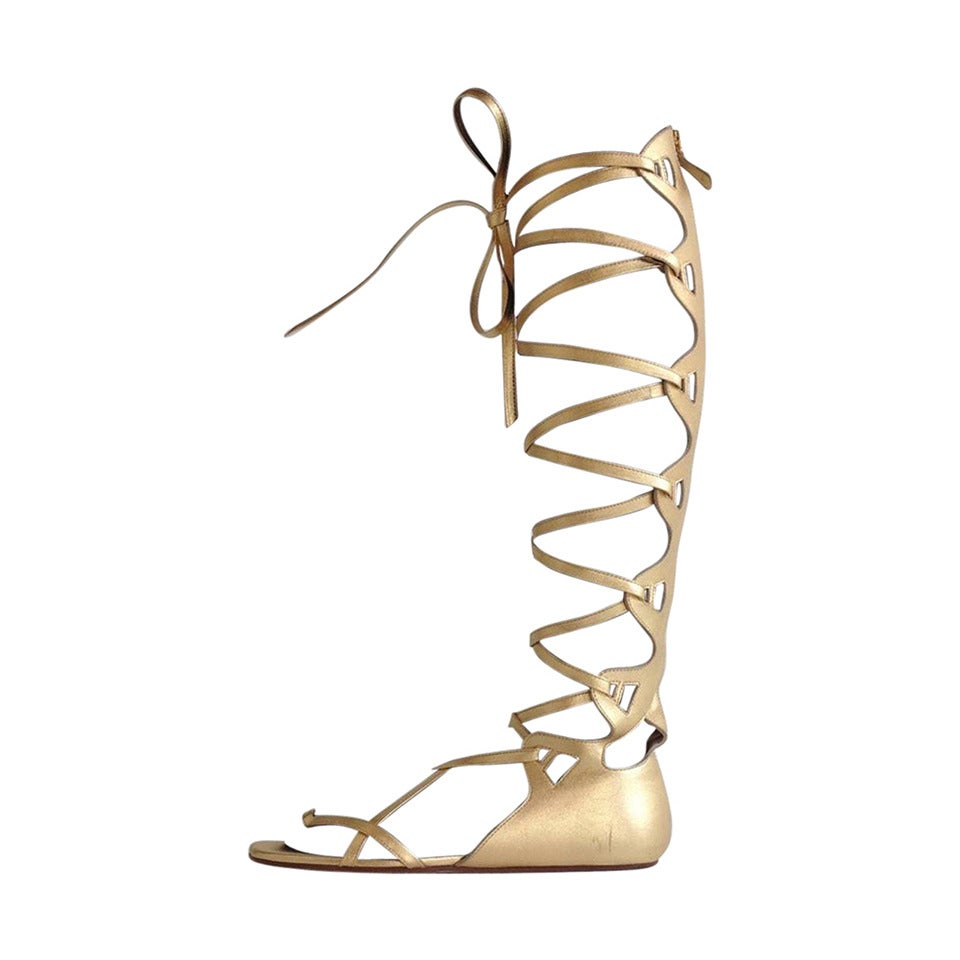 Chanel Gold Lace Up Gladiator Sandals at 1stdibs