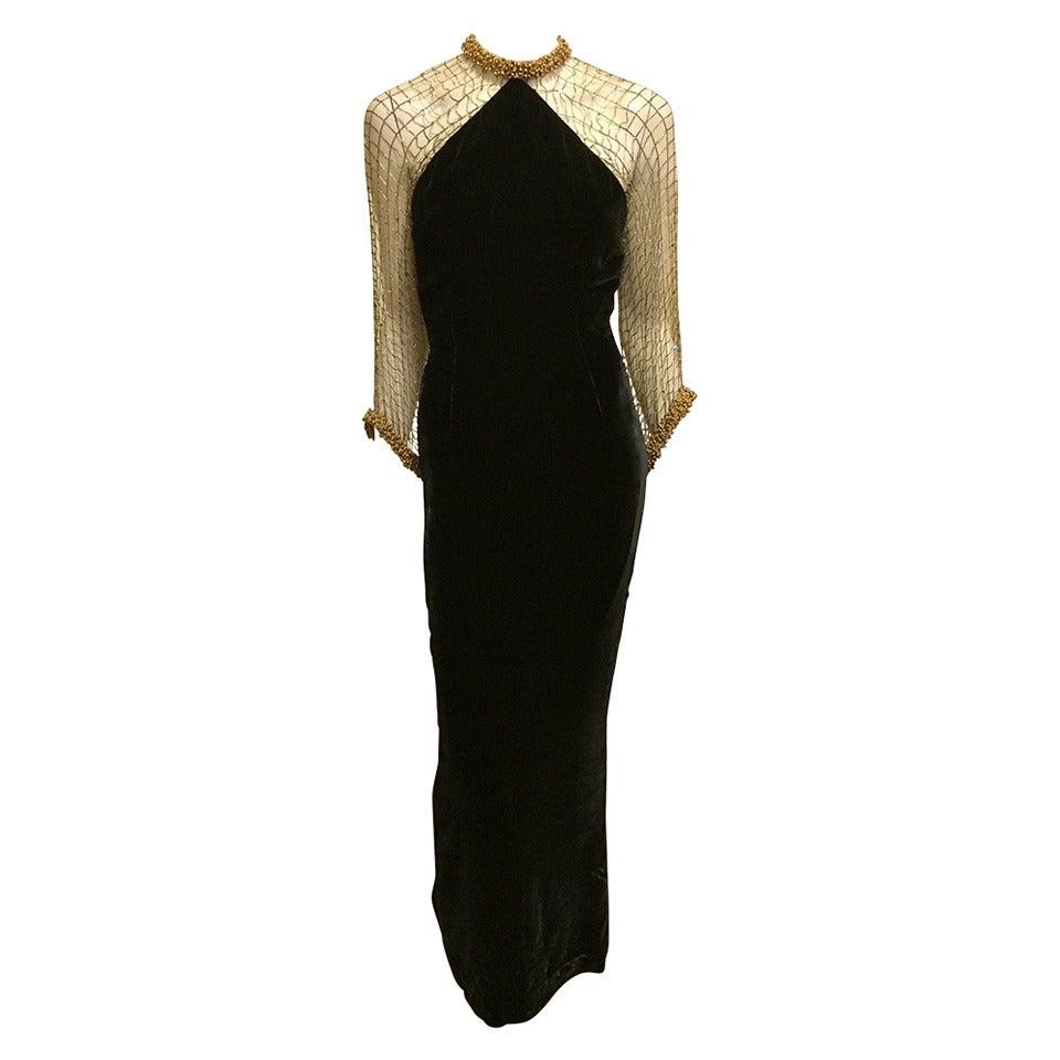 Oscar de la Renta Black Velvet Gown with Gold Netting 1
