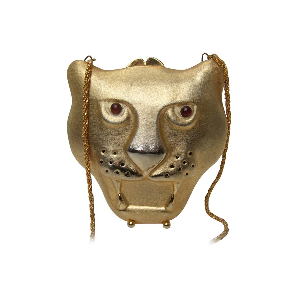 Saks Fifth Avenue Gilt Metal Panther Evening Bag Made in Italy