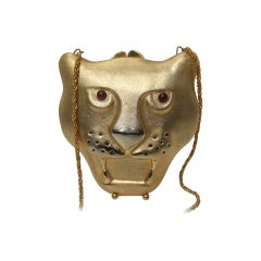 Saks Fifth Avenue Gilt Metal Panther Evening Bag Made in Italy c 1970s