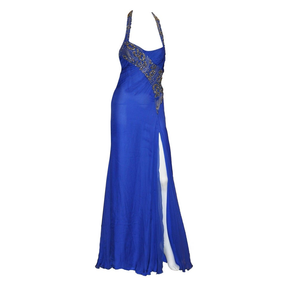 New VERSACE EMBELLISHED ROYAL BLUE CHIFFON SILK GOWN