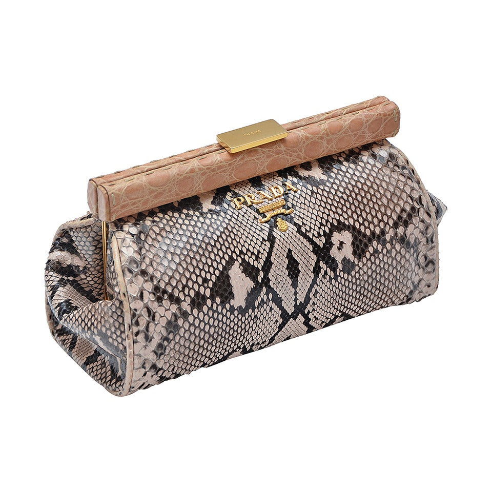 Prada  Nude/Brown Mix Color  Python Clutch With Croc Trim New 1