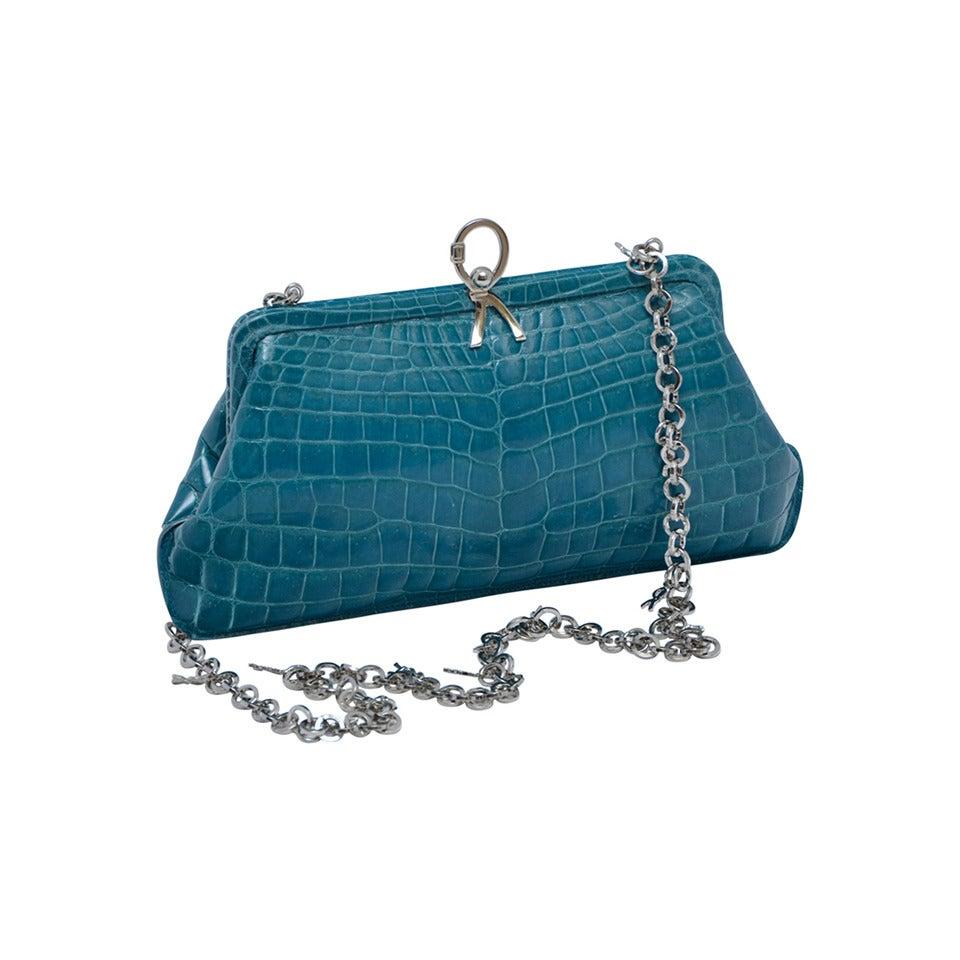 ROBERTA DI CAMERINO Crocodile Clutch Handbag Mint 1
