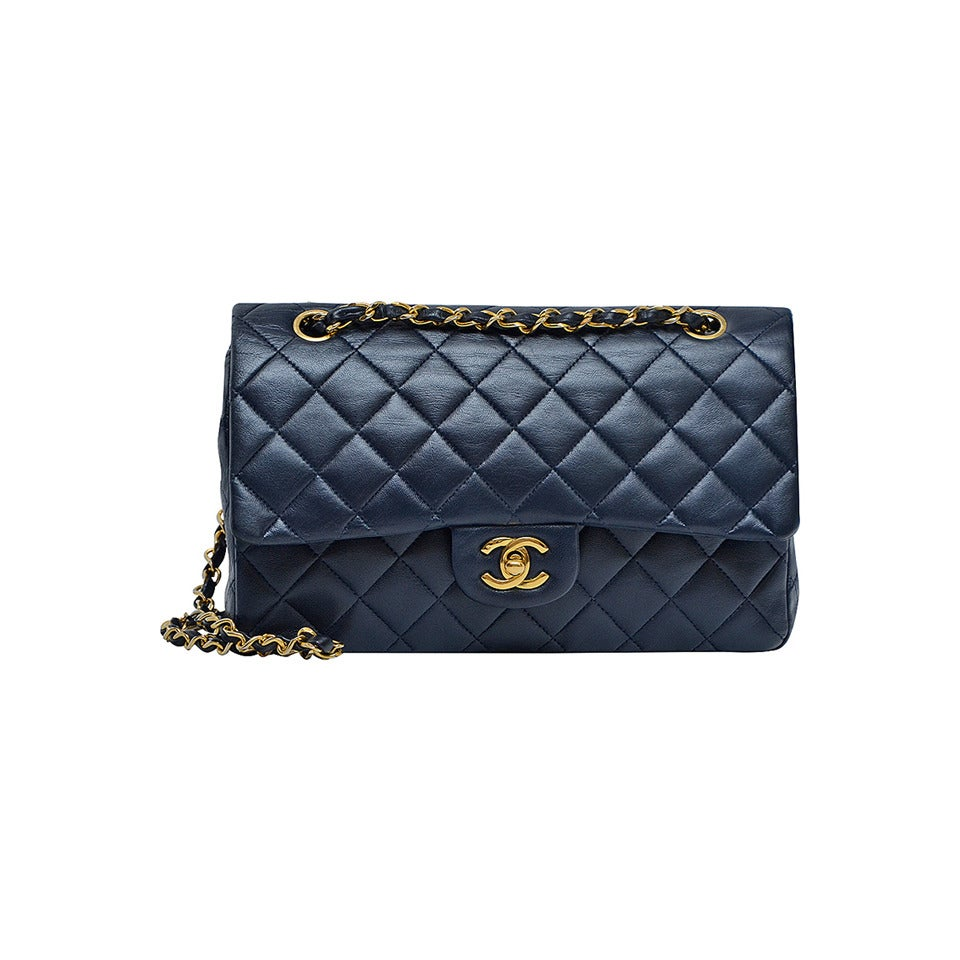 Vintage Chanel Double Flap Dark Blue Handbag For Sale