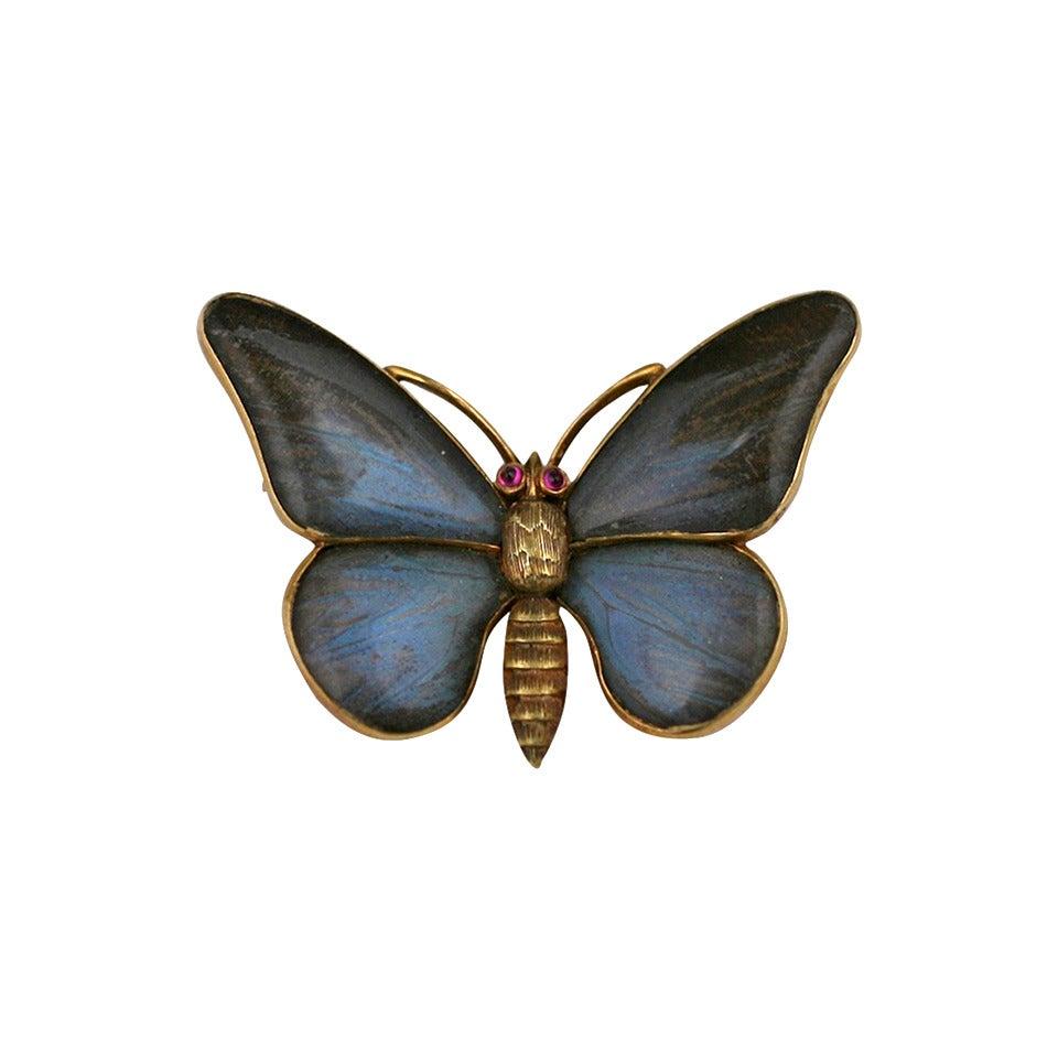 Victorian Rock Crystal Gold Butterfly Brooch