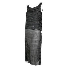 1920s Black Silk Flapper Dress with Elaborate Beading